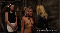 Blonde Lesbian Slave In Bondage Punished And Dominated By Mistress