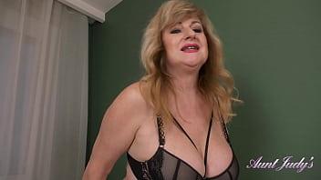 AuntJudys - Busty 55yo amateur Liana in Stockings & Lingerie