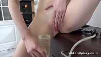 Piss Tasting Brunette Orgasms With Dildo