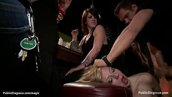 Blonde rough fucked in public bar