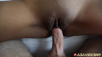 Beautiful blonde Asian mom revels through 3 orgasms on her back