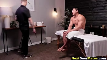 Asian hunk demands happy ending massage from straight guy