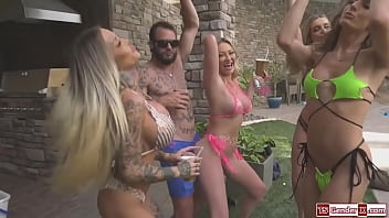 Hot tgirls have an orgy in a pool party