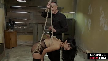 Asian bondage subject fucked and pussylicked by dom