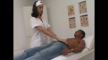 Red hot tempting nurse tranny Nicolly Dikastro prescribe her patient to stick his hard dong in her chocolate eye as soon as possible