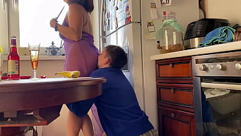 This sushi delivery man has never seen anything like this at work - Alina Tumanova before blowjob in transparent underwear