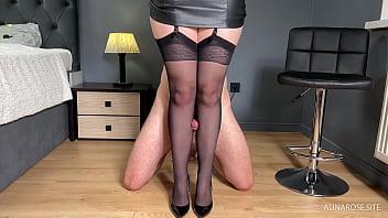 Fucked Teacher Nylon Legs in Heels and Cum inside Stocking