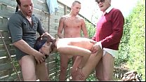 young french brunette anal fucked in foursome outdoor with Papy Voyeur